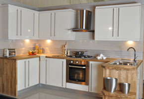 Cream Kitchen With High Gloss Finish On Sale